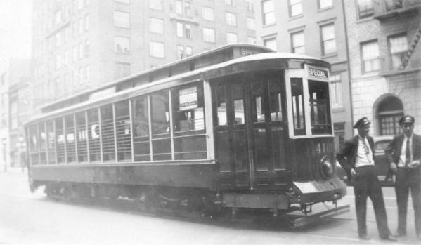 B&QT convertible trolley No. 4181 on Lafayette Ave, Rush hour loop, special car