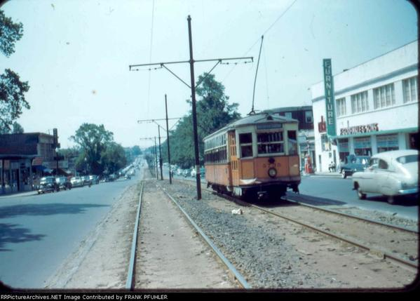 Type Five streetcar making its way up Blue Hill Avenue in Dorchester away from Mattapan Square and towards Franklin Park