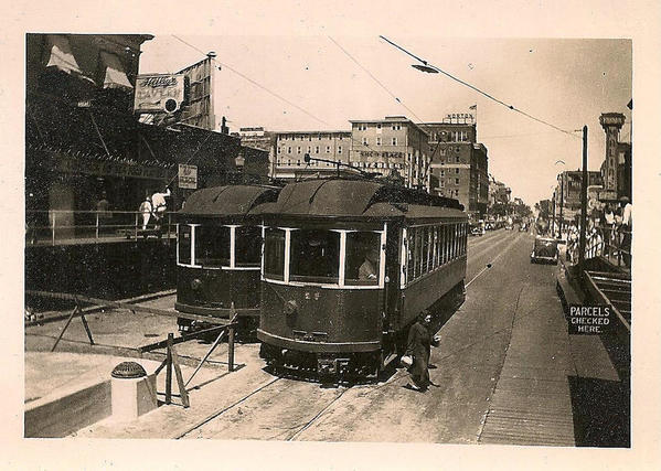 Old Atlantic City Shore Fast Line cars on Virginia at the Boardwalk Aug 9, 1936