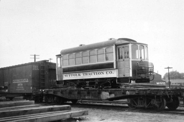 Suffolk Traction Co. Battery Car 1 on Flatcar-Patchogue-6-1911