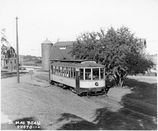 Inter-campus line car arriving at the St. Paul University of Minnesota campus, c. 1945
