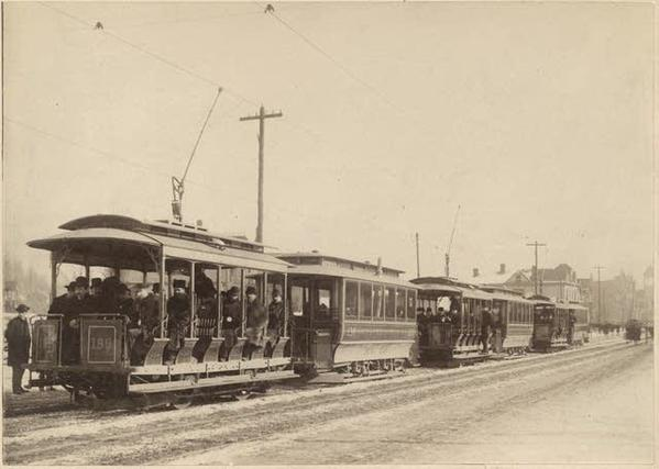 Opening of street car line on Grand Avenue, St. Paul, Feb. 22, 1890
