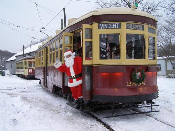 Santa's Trolley Winter Wonderland is held at the Shore Line Trolley Museum