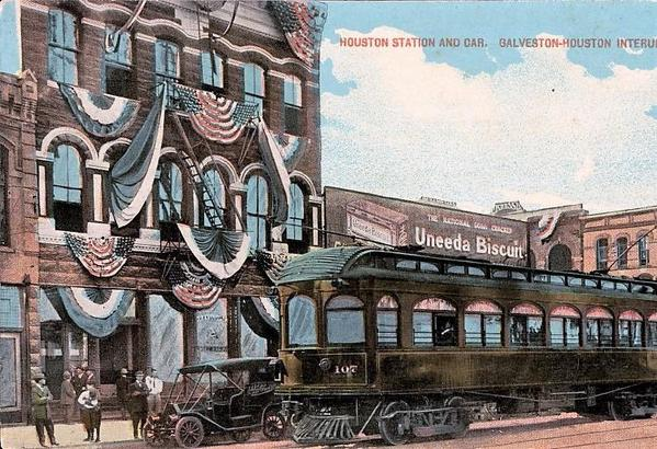 Houston_station_and_car_from_the_Galveston-Houston_Interurban_Railraod
