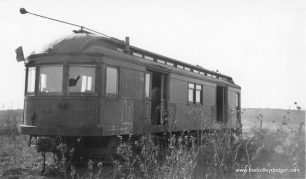 Car 102 of the the Elgin Belvidere & Rockford sits forlornly in Marengo in this June 1937 photograph. By then, the line, which quit service on March 9, 1930