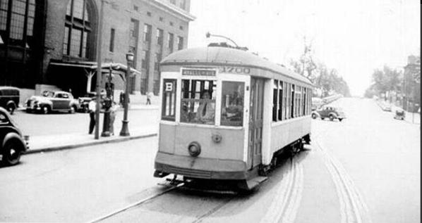 New Haven streetcar at Union Station 1940s