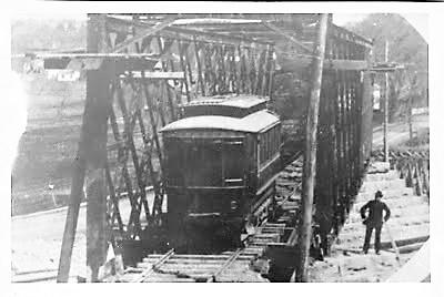 First Car over Canal Bridge, Lower Broadway, Fort Edward, New York