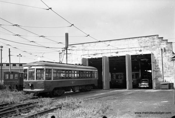 Rochester Transit car 48, which ran on the Rochester subway. Passenger service was abandoned in 1956