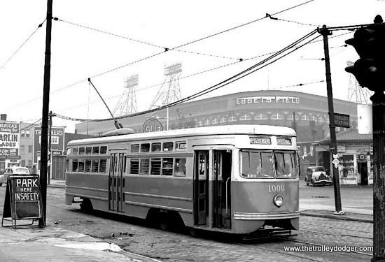 Brooklyn & Queens Transit PCC 1000 near Ebbets Field, home of the Dodgers