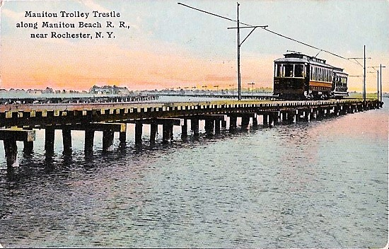 Trolley On Manitou Trestle Near Rochester, NY