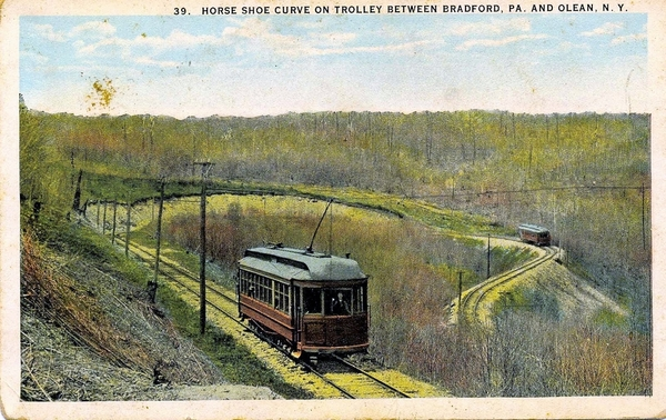 Trolleys Cars On Horse Shoe Curve Between Bradford, PA & Olean, NY