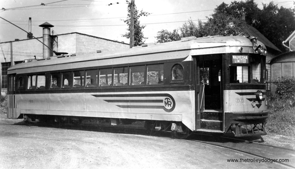 "Speedrail car 66, shown here on the Waukesha loop, was a Cincinnati ""curved-side"" car. It had formerly been used by both Lehigh Valley Transit and the Dayton and Troy"
