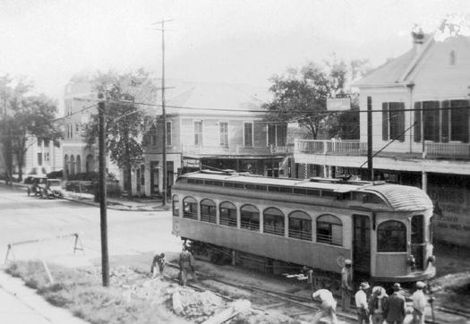 ackson at McKinney, looking northeast. In the foreground is a Galveston-Houston Interurban train