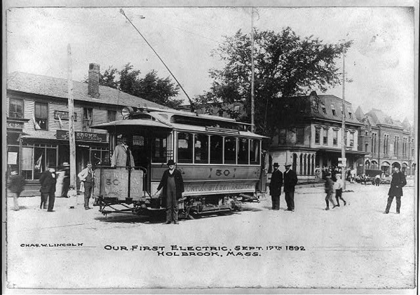 1st Electric Trolley, Holbrook, Mass