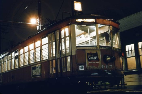 Car 955 at Harwood Avenue, March 2, 1958. This was the last run to Wauwatosa.