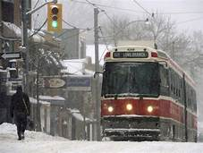 Montreal Trolley In Snow