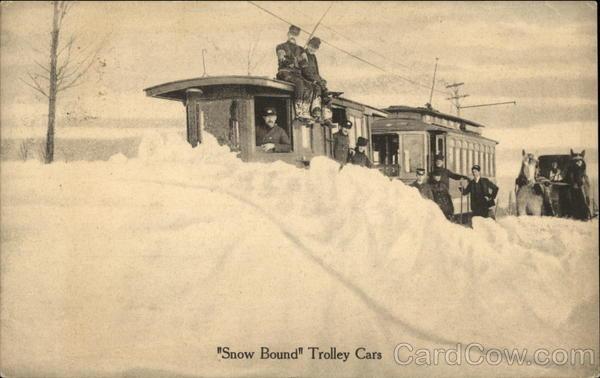 Snowbound Trolley Cars [1)