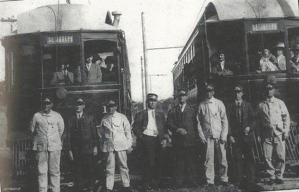 Arrival of the 1st St. Joseph Interurban car on April 29, 1913