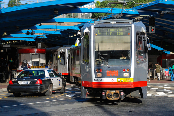 Streetcars and police cars at the West Portal Tunnel