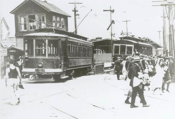 FAIRVIEW AVENUE WHERE TROLLEYS ENTERED AND LEFT THE L.I.R.R.