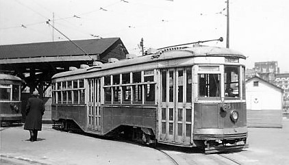 Brooklyn Trolley #8111, Ralph-Rockaway Line, Williamsbridge Plaza, 1949