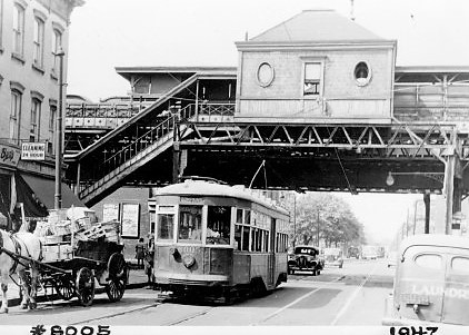 Trolley #8005 at Tompkins and Lexington Aves, under El, August 22, 1947