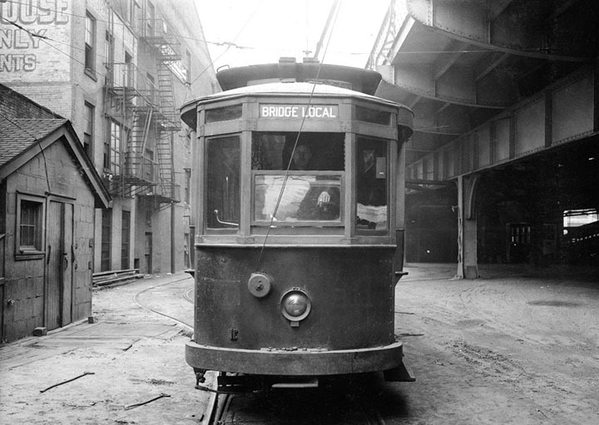 No 311 at the car barn of the Williamsburg Bridge trolley line, photographed on March 22, 1928