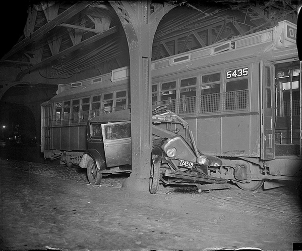 Boston Trolley Crushes Car 1932