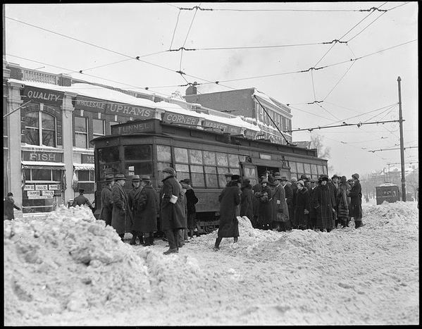 Trolley stuck in snow, Uphams Corner, Dorchester. 1930