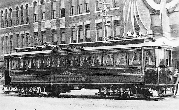 CM&H Parlor Car in Wood Square, Hudson, shortly after going into service in 1902