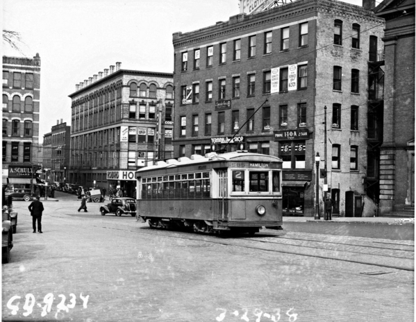 Worcester Consolidated Street Ry Trolley @Hamilton Street & Salem Square, March-29-1938
