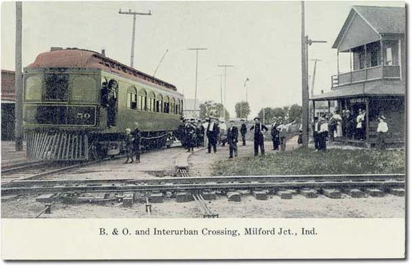 Winona Interurban RR Crossing of B&O @ Milford