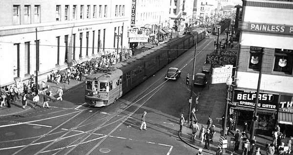 Key System transbay train heading west on 12th Street at Broadway in Downtown Oakland, circa early 1940s.