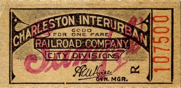 Charlston Interurban RR Co. Ticket