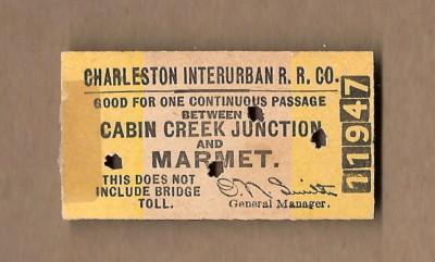 Charlston Interurban RR Ticket nn