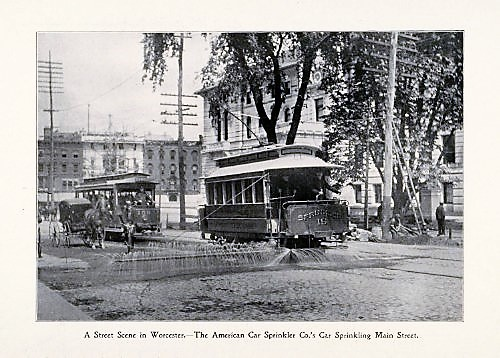 American Car Sprinkler Company Trolley on Main Street in Worcester, 1898