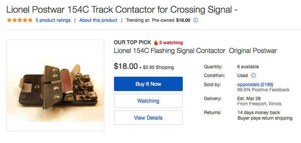 1 Lionel Postwar 154 C Track Contactor for Signal Crossing