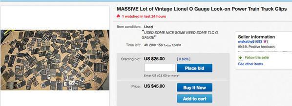 2 MASSIVE Lot of Vintage Lionel O Gauge Lock-on Power Train Clip