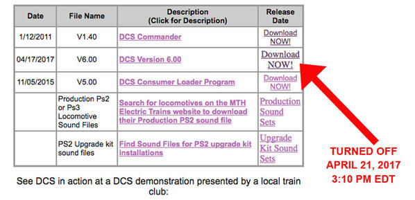 MTH DCS 6.0 Download Off