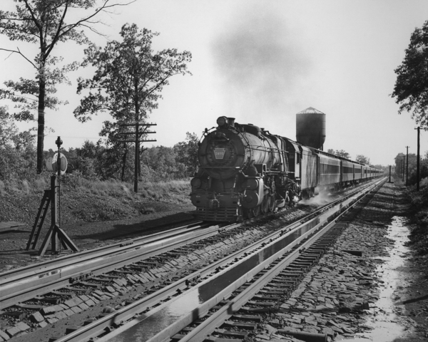4595 takes on water from track tanks at Ancora, New Jersey