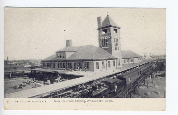 Bridgeport-CT-New-Railroad-Station-Train-Depot-Postcard