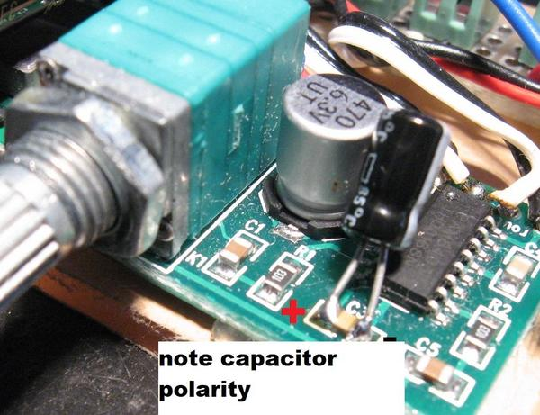 capacitor on amp with volume control