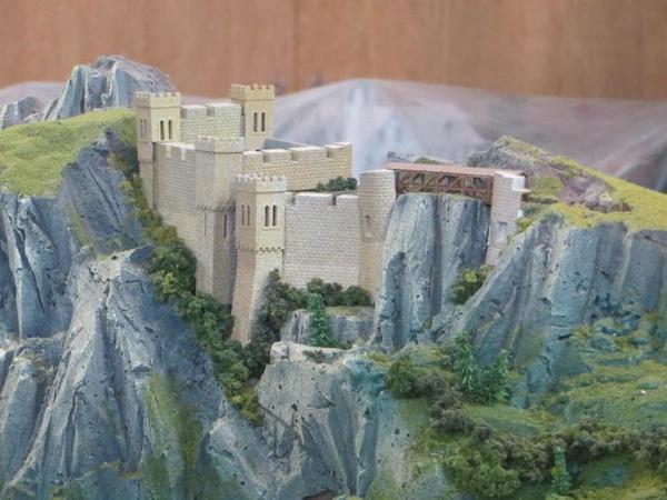 Z-scale layout mountain castle