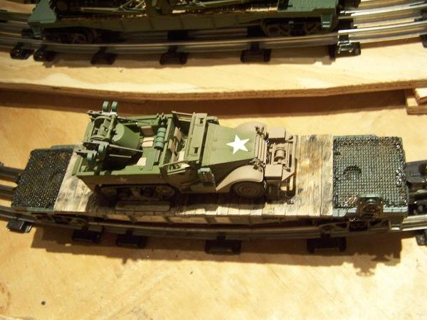 Army WWII type Half Track on Trans Corps flatcar