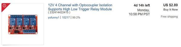 ebay 4 relay module less than one buck per relay