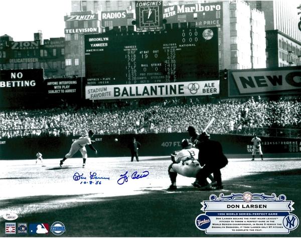 yogi-berra-don-larsen-new-york-yankees-autographed-16-x-20-1956-world-series-first-pitch-photograph-with-10856-inscription-jsa3-t5947583-2000