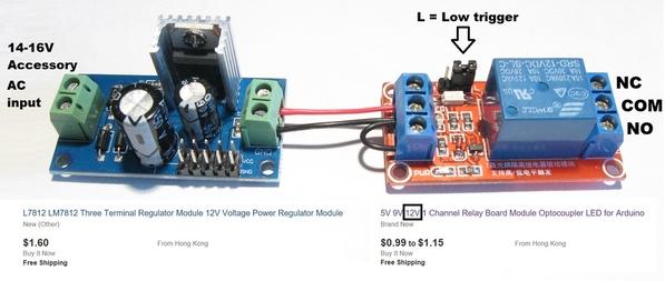 ac 12v relay using ebay modules for less than 3 bucks