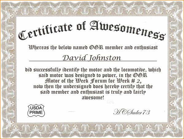 Certif of Awesomeness Week 2 David Johnston