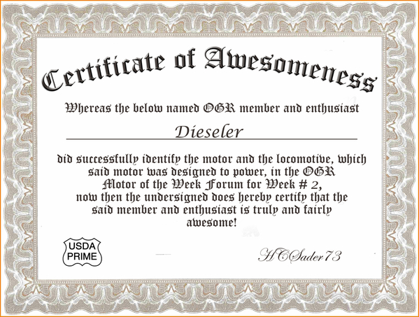 Certif of Awesomeness Week 2 Dieseler