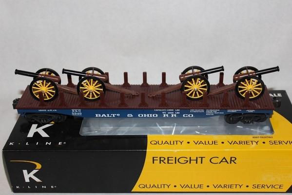K691-1092 BALTo & OHIO RR Co 48' Scale Flat Car w 4 Cannon - Sample PhotoA